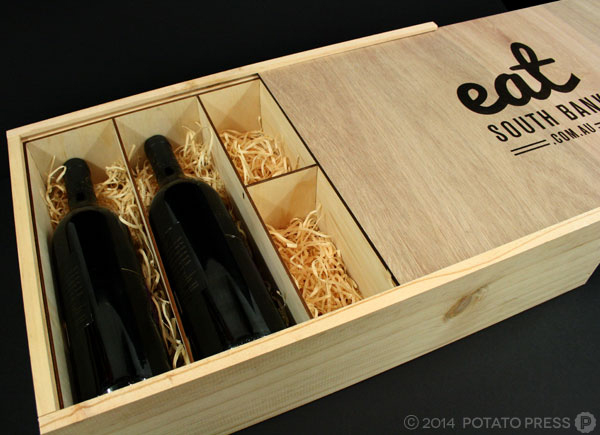 Eat southbank custom timber food sample boxes potato press for Timber wine box