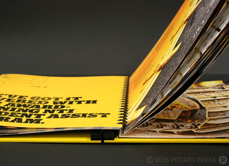 Custom-metal-folder-coffe-table-book-routered-aluminium-yellow-cover-potato-press-custom-hand-bound-book-australia-north-america-detail