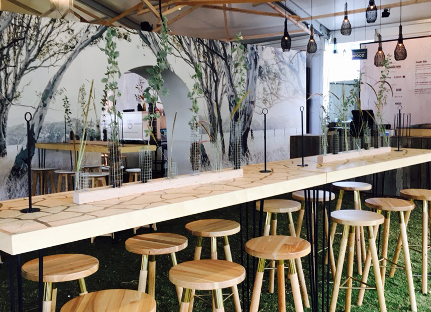Regional flavours 2016 custom tables graphic fitout bespoke furniture bar timber wood 4