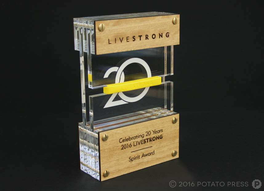 potato-press-livestrong-spirit-award-layered-acrylic-laser-etched-wood-australia