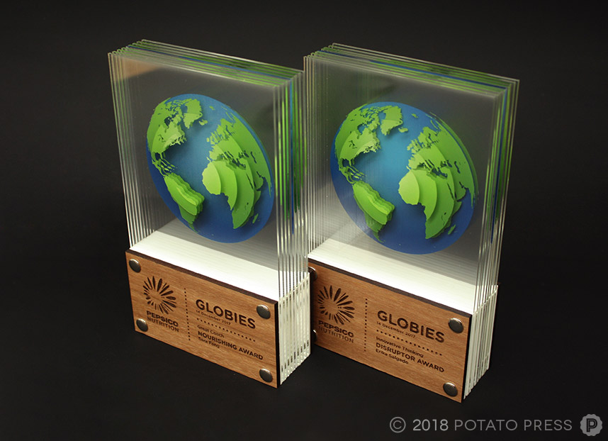 pepsi pepsico timber acrylic custom awards trophy