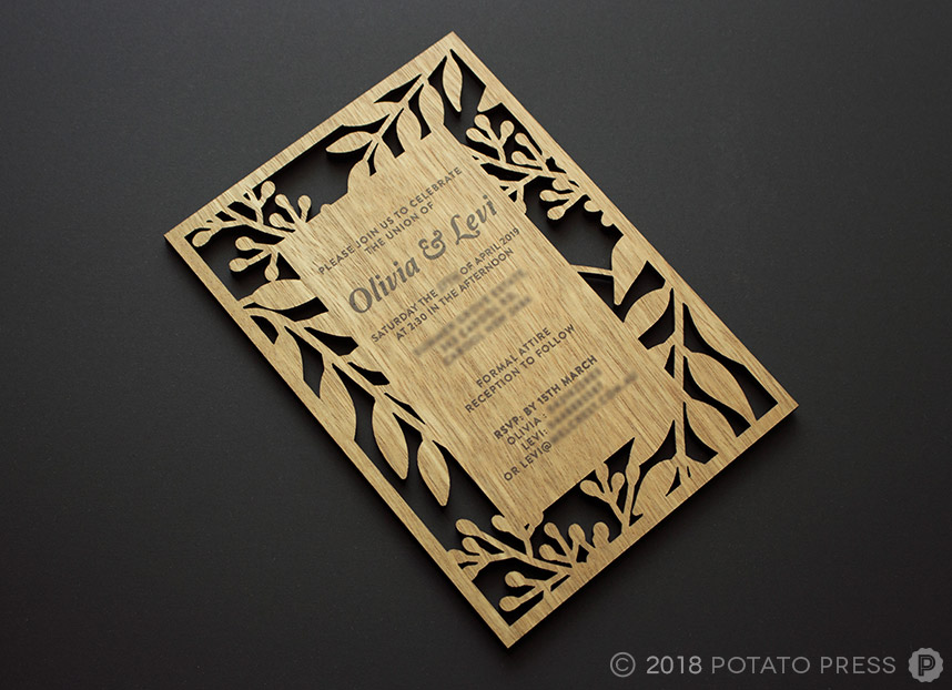 timber laser cut wedding invitations custom unique wood rustic
